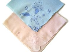 Vintage Ladies Hankies- Appliqué and Embroidery- Pink and Blue- Set of Blue-Accessories-Cotton-Ladies Unique Vintage, Vintage Ladies, Vintage Linen, 1940s Wedding, Vintage Handkerchiefs, Wedding Keepsakes, Birthday Gifts For Her, Something Blue, Vintage Shops