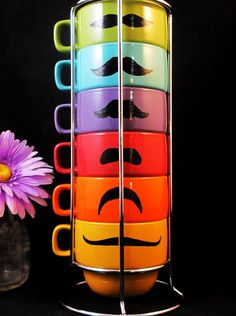 Spring Multi Color Six Stackable Mustache Mug by kaoriglass, $35.00