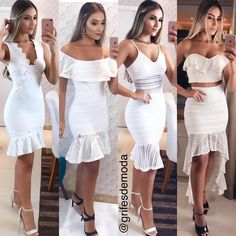 1,2,3 ou 4 ? 🌼✨ @donasdeluxoo  Por: @mayaramartinii Sexy Dresses, Beautiful Dresses, Casual Dresses, Fashion Dresses, Civil Wedding Dresses, Lace Dress Styles, Weeding Dress, Special Dresses, Elegant Outfit