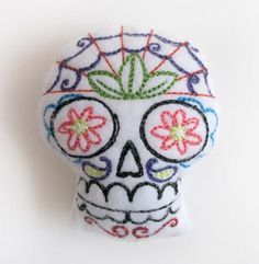 Sugar Skull Pincushion (Stuffed) | Urban Threads: Unique and Awesome Embroidery Designs