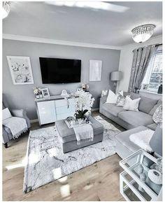 Decor Home Living Room, Glam Living Room, Cozy Living Rooms, New Living Room, My New Room, Apartment Living, Living Room Designs, Gray Living Room Decor Ideas, Gray Room Decor