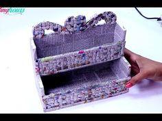 DIY Mini Desk Organiser with Cardboard and Newspaper - YouTube