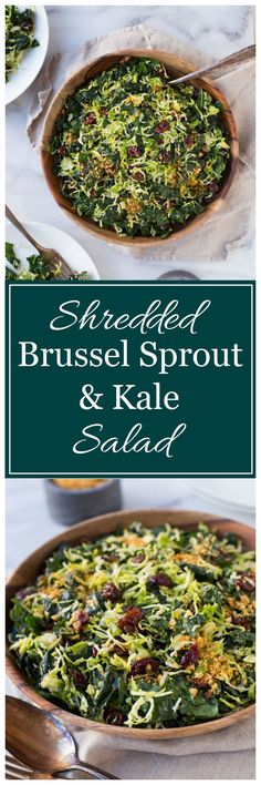 Shredded Brussel Sprout and Kale Salad with Maple Pecan Parmesan - Making Thyme for Health