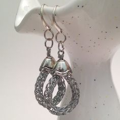 pewter silver ladies viking knit dangle earrings by DonnaDStore