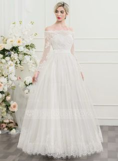 [US$ 166.69] A-Line/Princess Off-the-Shoulder Floor-Length Tulle Lace Wedding Dress