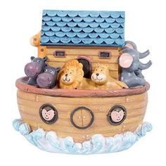 Roman Exclusive Noah's Ark Wind Up Musical Box Features The Animals on Board and Plays Talk to The Animals 6-Inch
