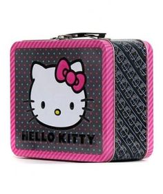 7dd4e504402a Hello Kitty Pink Bow All Over Print Lunch Box Tin SIZE Approx 8 x 7 x
