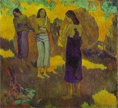 three tahitian women against a yellow background 1899 oil on canvas paul