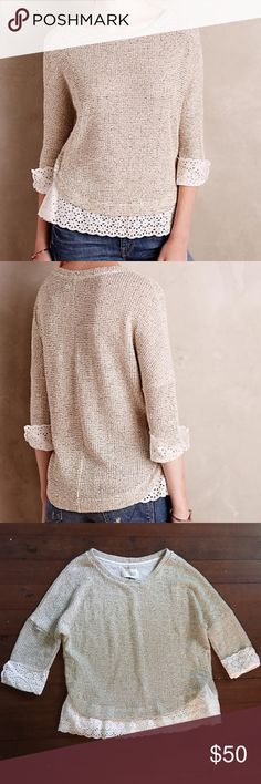 ⭐️ HP ⭐️ Anthropologie Saturday/ Sunday Sweater Cozy Sweater perfect for chilly weather! Oatmeal colored sweater with eyelet trim around sleeves and hem. Two snaps on each side for a more fitted or looser look. Anthropologie Sweaters