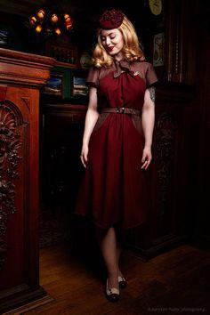 40er-Jahre Kleid nach Originalschnitt Unikat