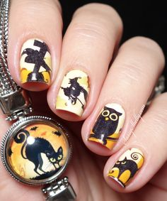 Easy Halloween Nail Art - owls, witches and black cats - with KBShimmer Water Decal nail tattoos | Sassy Shelly #Halloween #nails #easynailart