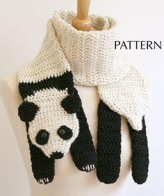 "My friend loves pandas and loves this scarf.""PDF Crochet Pattern for Panda Bear Scarf - Animal Woodland Warm DIY Fashion Tutorial Winter Fall Autumn"" Bonnet Crochet, Diy Crochet, Crochet Crafts, Yarn Crafts, Crochet Projects, Crochet Panda, Decor Crafts, Paper Crafts, Crochet Fox"