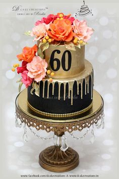 Gold Dripping Cake 60th Birthday For Ladies Drip Bithday