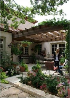 I love this pulled together look and romantic pergola! Thinking of buying a pergola? Learn the essential facts about pergola kits and designs here. Backyard Patio Designs, Pergola Designs, Pergola Patio, Pergola Ideas, Landscaping Design, Wooden Pergola, Garden Landscaping, Wooden Trellis, Backyard Gazebo