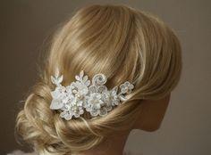 """Braut Spitzen Fascinator """"Angela"""" Headpiece ivory von Elizabethmode auf DaWanda.com"""
