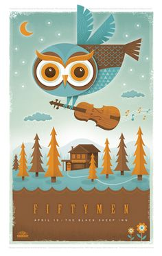 Owl with a violin flying over a cabin in the middle of a forest.  Follow me for more awesome