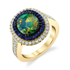 Omi Prive - Black opal, sapphire and diamond ring