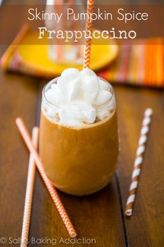 Skinny Pumpkin Frappuccino - Enjoy a delicious pumpkin spice frappuccino at home without all the calories, fat, and refined sugar. sallysbakingaddiction.com