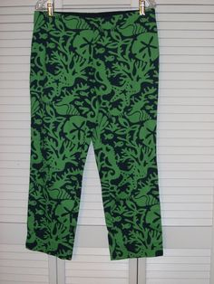Vineyard Vines Pants Size 8 Green Blue Fish Starfish Sand Dollar  #vineyardvines #CaprisCropped