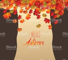 Abstract tree, brownie autumn leaves falling royalty-free stock vector art