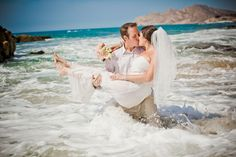 Jumping in the ocean with her wedding dress...@Cristofre Charest and @Christina Settle... hmmmm. :)