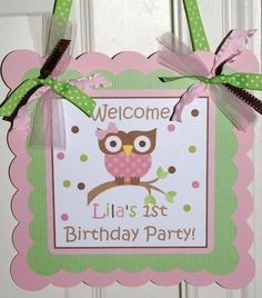 NEWMod Owl Centerpieces 3 piece Kiwi Pink & by ThePartyPaperFairy