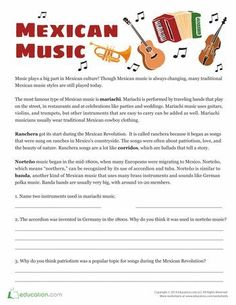 Worksheets: Mexican Music Facts. ♫ CLICK through to download this FREE file or save for later! ♫