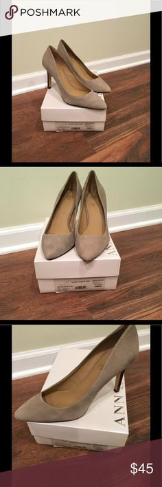 """Ann Taylor grey/tan suede pumps Beautiful shoes, 3"""" heels with alligator print, EUC!! Ann Taylor Shoes Heels"""