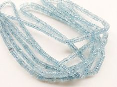Aquamarine Faceted Tyre Beads AAA Aquamarine by gemsforjewels