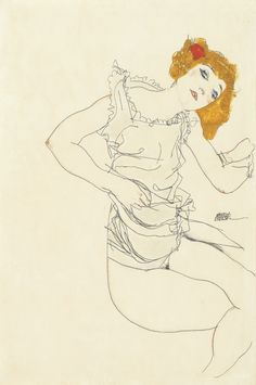 Egon Schiele - Blonde Girl in Slip, 1913 gouache and pencil on paper 46.5 by 31 cm.