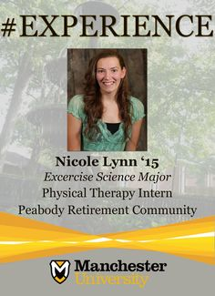 Nicole Lynn '15 is building #experience as a Physical Therapy Intern at Peabody Retirement Community.