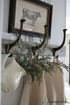 FARMHOUSE 5540: Farmhouse Friday ~ What Farmhouse Style Means to Me~Greenery in a vase, jar hanging on either side of the mirror over the fireplace at Christmas!