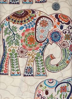 1 Yard Valori Wells Karavan : Marrakech Elephants Bohemian India Cotton Quilt Fabric by Free Spirit