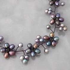 Intricate Black Pearl Flower Link Necklace (3-10 mm) (Thailand) - 30 mm wide x 16 inches long with a 2-inch extension