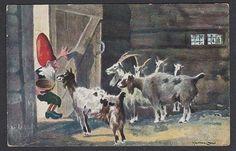 Julekort Halfdan Gran - Nisse og geiter. Utg Prospekt, Kristiania Brukt 1922