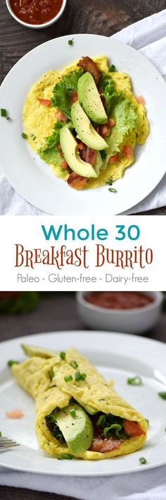 This Whole 30 Breakfast Burrito is a delicious gluten-free, dairy-free, and guilt-free way to start your day, mid-day meal or even dinner healthy food Whole 30 Diet, Paleo Whole 30, Whole 30 Recipes, Whole 30 Meals, Whole 30 Breakfast, Paleo Breakfast, Breakfast Recipes, Brunch Recipes, Avocado Breakfast