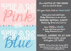 An August Day Designs Custom Invitation for a Gender Reveal Party - Team Pink vs Team Blue, Baby Shower Invitation, Baby Boy or Baby Girl