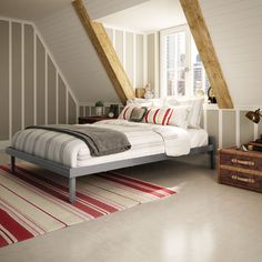 A bedroom with a sloped ceiling can be both an idyllic oasis and a design challenge. The Attic bed is a perfect fit for this special space. Finished in a glossy grey, this bed features a contemporary design constructed of top-quality solid steel.