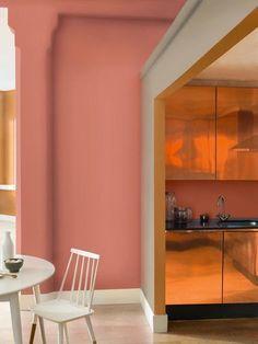 wandfarbe apricot der frische trend bei der wandgestaltung in 40 beispielen wandgestaltung. Black Bedroom Furniture Sets. Home Design Ideas