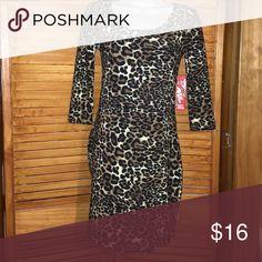 Stretchy leopard dress Cream ,brown and black,3/4 sleeve Hot Kiss Dresses Midi