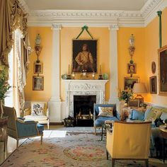 A London drawing room designed in the 1960s by John Fowler.  Image from Architectural Digest.
