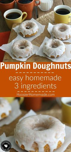 With only 3 ingredients, you can have these delicious Homemade Pumpkin Doughnuts! Add a simple 2 ingredient glaze and they are out of this world! Grab a cup of coffee, because you are going to want a couple of these amazing Homemade Donuts!