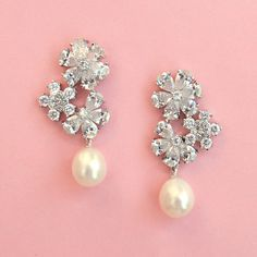 FREE SHIPPING  Floral Pearl Wedding Earrings by spoiledpretty, $69.95