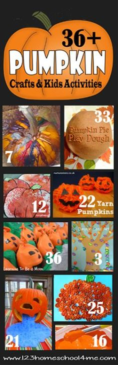 36 Pumpkin Crafts and Kids Activities - So many super creative and unique ideas for kids of all ages. LOVE!