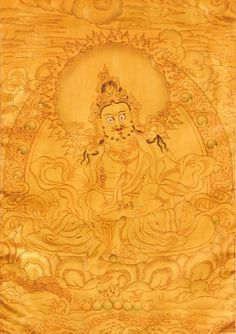 Dzambala: Gold #Thangka by Tashi Dhargyal  www.tashidhargyal.com