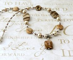 Brown and Beige Zebra Jasper Necklace with Pendant NE1299 | DesignsForAnAngel - Jewelry on ArtFire