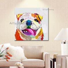 Animal Oil Painting Morden Abstract Dog Painting Art On Canvas Hand Painted #Modernism