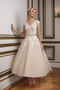 Justin Alexander  Vintage-Inspired Champagne Tulle Tea Length Bridal Gown
