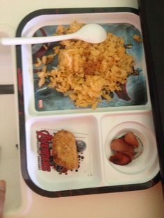 Tomato rice with nuggets n hotdogs..