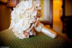 Pale pink and white roses with silk ribbon and crystal adorned